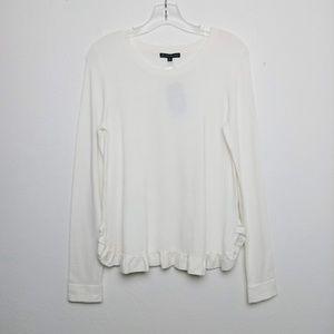 Adrianna Papell Ruffle Hem Sweater Ivory White S